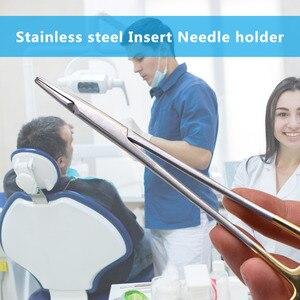 Image 5 - Держатели для стоматологических игл, ортодонтические плоскогубцы из нержавеющей стали, позолоченная ручка, хирургический стоматологический инструмент, имплантат Castroviejo