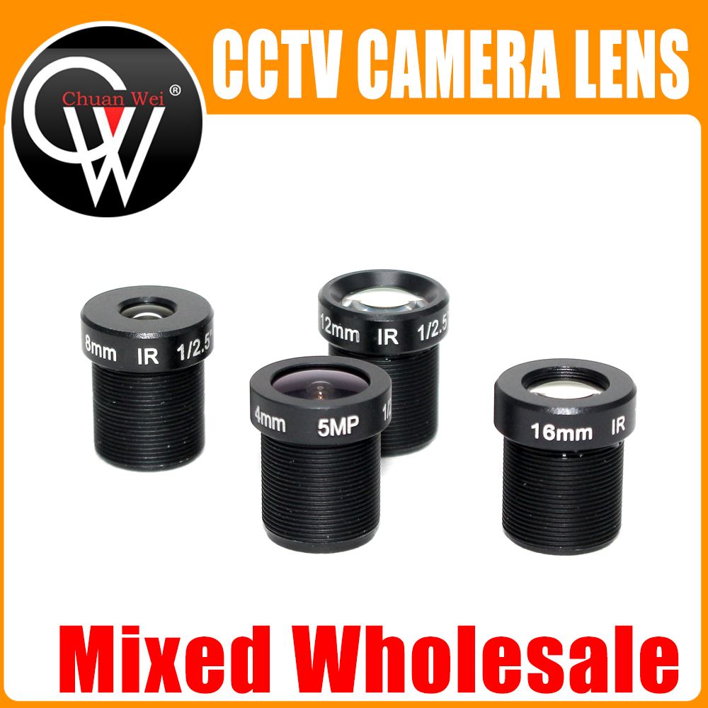 Mixed Wholesale 5MP M12 Fixed 1/2 and 1/2.5 inch 4/8/12/16mm CCTV Lens Long Distance View For 1080P/4MP/5MP AHD Camera IP Camera new cctv lens 1 2 5 inch 6 22mm 5mp m12 mount varifocal lens f1 6 for 4mp 5mp cmos ccd sensor security ip ahd camera