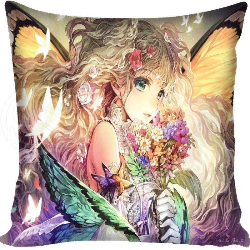 New Arrival Hot Sale Butterfly Fairy Style Throw Pillowcase Square Zippered Pillow Cover Custom Gift 40x40cm