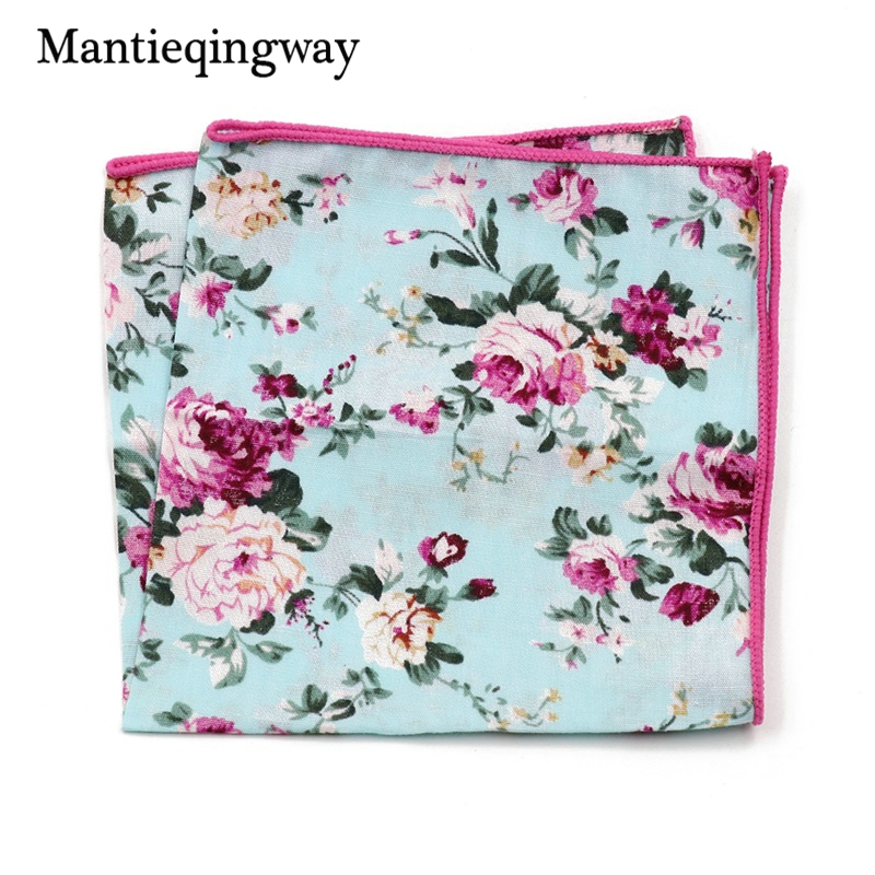 Mantieqingway New Arrival Cotton Floral Printed Handkerchiefs Pocket Mens Formal Business Wedding Pocket Square Women Hankies