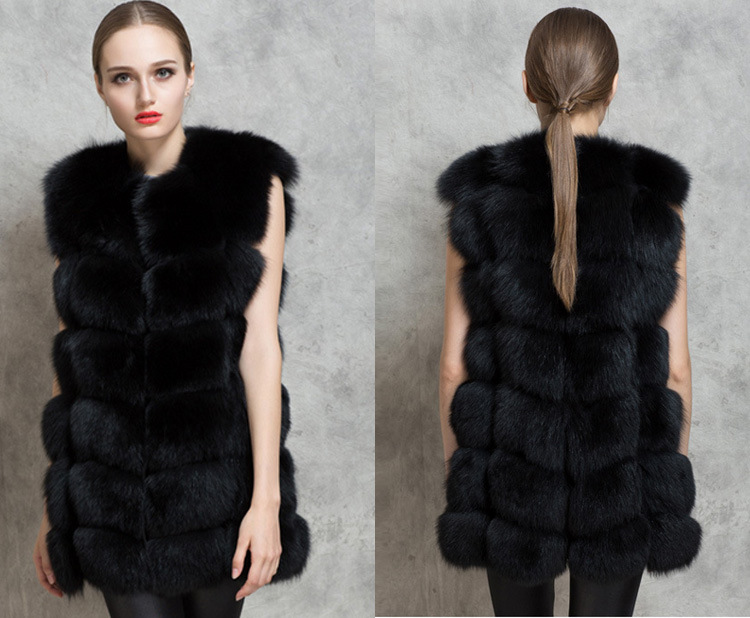 Pleine Nouveau De Femmes Imitation longue Bande Cuir noir Fourrure Gilet Renard 2018 X Blanc Mince Horizontale Survêtement qngBpEwXq