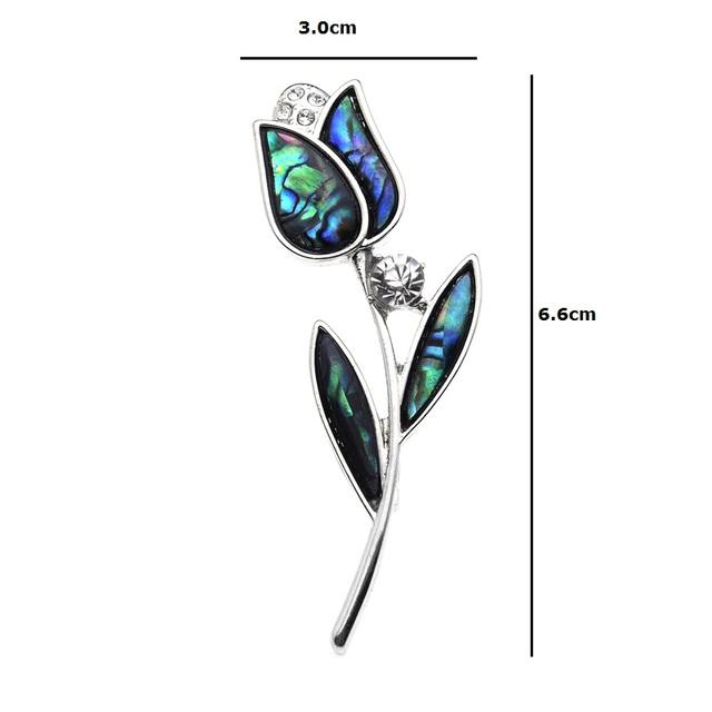 2v1 Kvetinová Brošňa TULIPÁN Prírodná Mušľa Floral Brooch TULIP Natural Shell
