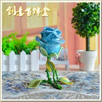 Enamel stereo rose alloy jewelry box gift craft painted diamond jewelry ring dresser ornaments