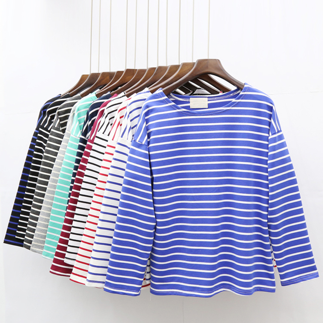 Ladies Casual Shirt Women's Spring Red White Striped 3/4 sleeve T shirt Tops For Woman Crew Neck Bottoming Tee Shirt 11 Colors