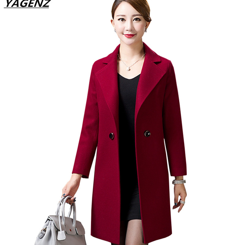Spring Autumn Coat Medium length Wool Woolen Coat High Quality Outerwear Middle age Mother Clothing Female