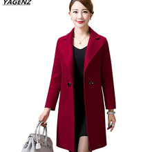 Spring Autumn Coat Medium-length Wool Woolen Coat High Quality Outerwear Middle-age Mother Clothing Female Jacket Plus Size 4XL