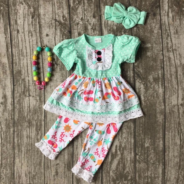 9643f9bcf69f6 US $14.99 |girls Summer outfit baby floral mint Slipper print capris  clothes cotton boutique ruffles kids wear sets matching accessories-in  Clothing ...