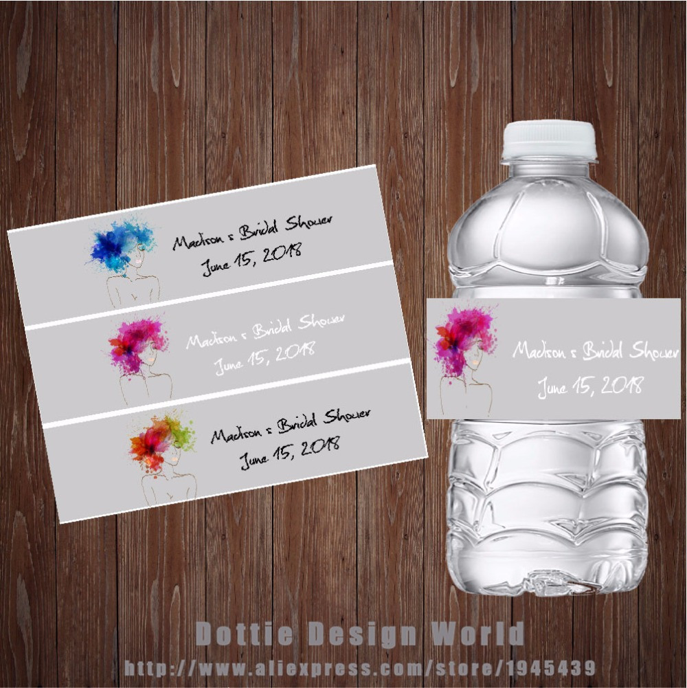 20 pcslot custom bridal shower water bottle labels candy bar wrapper wedding baby shower birthday hen party decoration favor in party diy decorations from