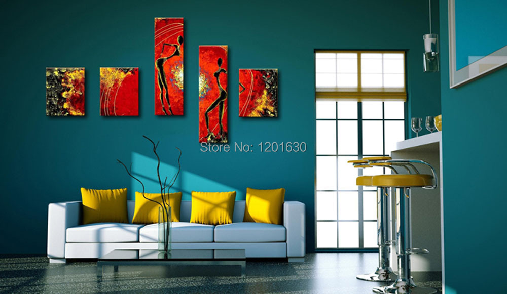 Bon Canvas Painting High Quality Yellow Black Red African Figure Oil Pictures 5  Panel Nude Girls Home Living Room Wall Art Set Decor In Painting U0026  Calligraphy ...