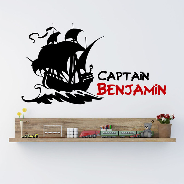 Custom name personalized stickers pirate captain pirate ship wall stickers home decor vinyl removable wall decals