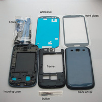 Rywill полный Корпус случае Запчасти для авто для samsung Galaxy S3 SIII i9300 Передняя Ближний рамка задняя крышка + Переднее стекло