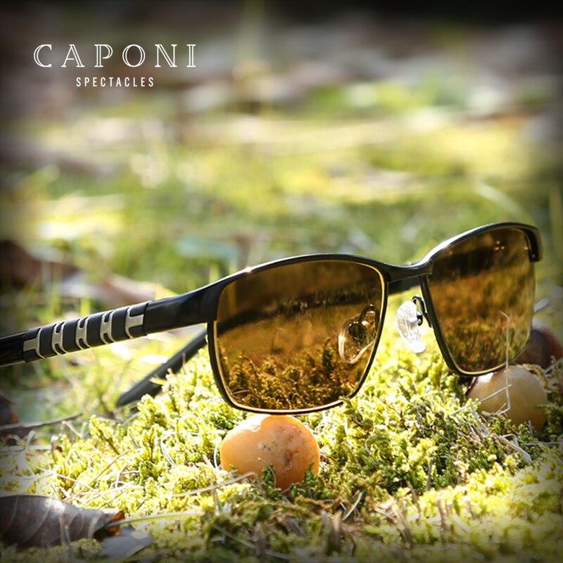 CAPONI lunettes De soleil carrées pour hommes jour et nuit lunettes De soleil nuances polarisées photochromiques pour la conduite Oculos De Sol BSYS19846