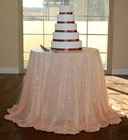 132 элегантный круглый Вышивка персик блесток скатерть для свадьбы скатерть украшения