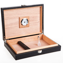 COHIBA Travel Black Leather Cedar Wood Cigar Humidor with Electronic Moisture Meter Humidifier
