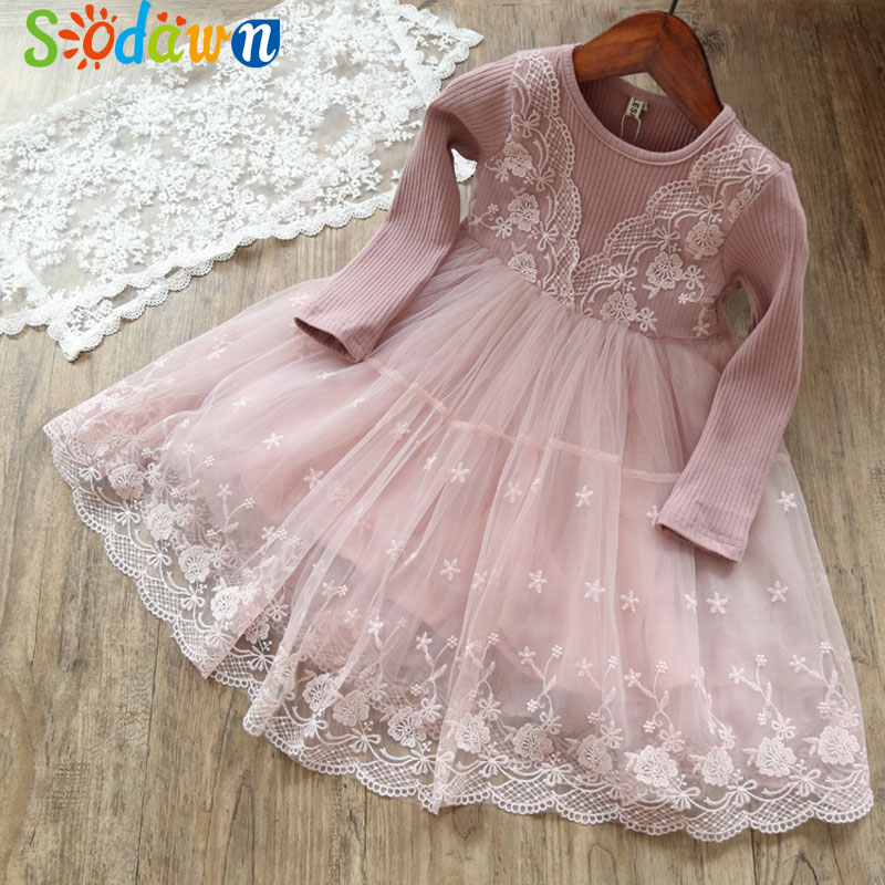 Sodawn 2018 Fashion Autumn New Girls Dress lace Mesh Long Sleeve Girl Clothes Baby Girls Princess Dress For Children Clothing girls summer casual bow print floral lace dress children s clothing girls fashion princess dress baby girl 13 age clothes