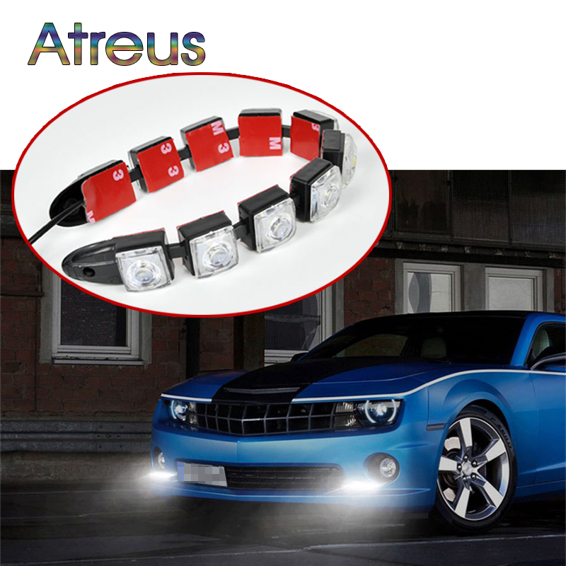 Atreus Car LED Day Lights 12V For Volkswagen Polo golf 4 5 6 Opel astra h j g Hyundai i30 ix35 accessories 1Pair DRL fog lamp for opel astra h gtc 2005 15 h11 wiring harness sockets wire connector switch 2 fog lights drl front bumper 5d lens led lamp