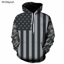 цена на Mr.MayLan USA Flag Hoodies Men/women 3D Sweatshirts Print Striped Stars America Flag Hooded Hoodies Tracksuits Pullover Clothes