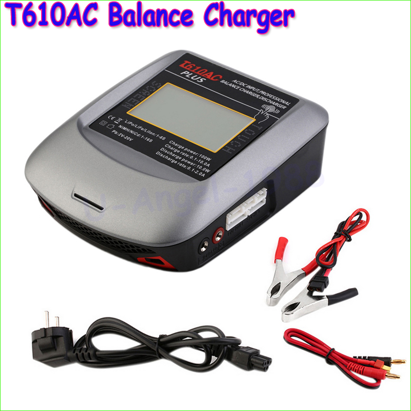 1pcs High Quality T610AC T-Plug Professional Color LCD Touch-Screen 100W AC/DC Balance Charger Free shipping high quality ac 360 415v 16a ie 0140 4p e free hanging industrial plug red white