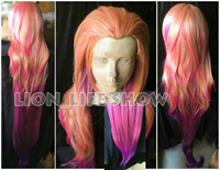150 cm LOL Zoe Aspect de Crépuscule orange rose pourpre Mixte couleurs Cosplay pleine perruque Nouveau Héros Gradient Synthétique cheveux