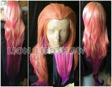 150センチメートルlol zoe側面トワイライトorangeピンク紫の混合色コスプレフルウィッグ新ヒーロー勾配人工毛