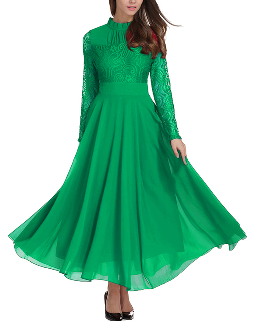 Roiii Fashion Women Long dress Casual Solid Green A-Line Full Sleeves Lace Female Dress Elegant Style Weeding Party Winter S-4XL