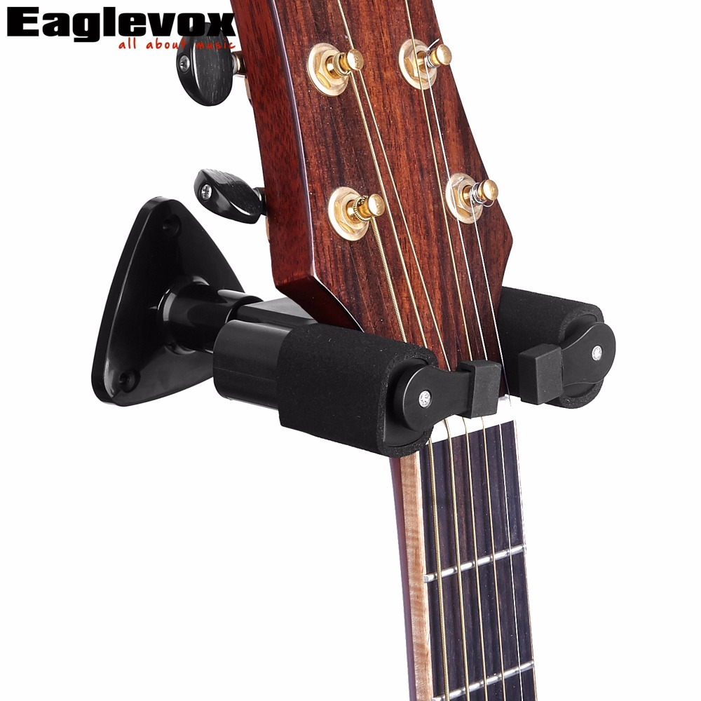 Black Guitar Wall Mounted Hanger with Auto Lock Guitar Rack Hook Wall Holder Stands Racks for Guitar Bass Ukelele wall mount guitar hanger hook holder keeper auto grip system lock round base for electric acoustic guitars string instrument