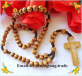 Freeshipping wholesale cheap olive/pine wooden beads religious rosary, catholic rosary necklace with wooden cross