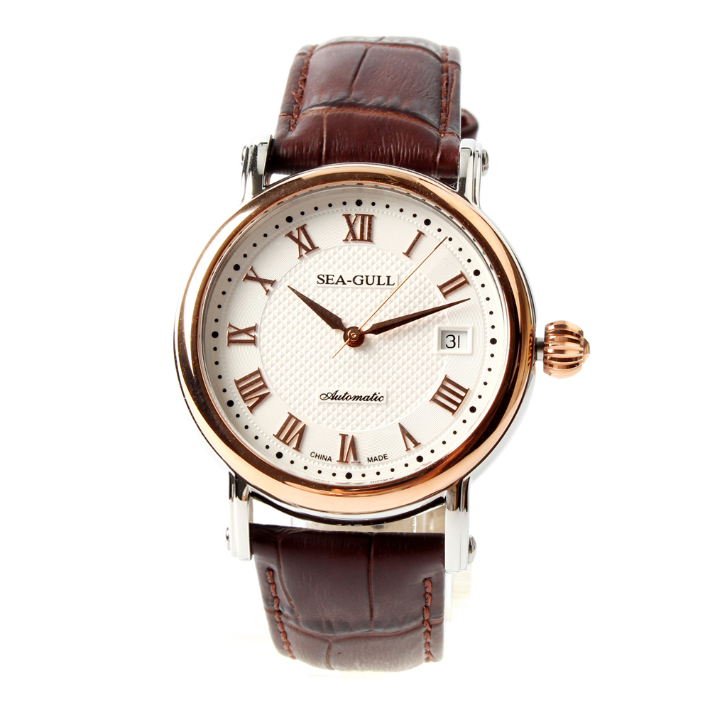 Seagull 219.365 Roman Numerals Gold Tone Onion Crown Exhibition Back Brown Leather Automatic Class Men's Watch Self Winding brief faux leather roman numerals waterproof watch