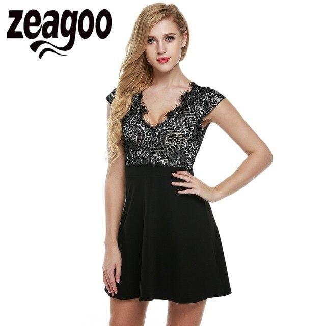 Zeagoo Femmes V-Neck Cap Manches Crochet Dentelle Dos Nu A-ligne Robe  Patineuse
