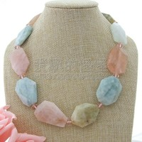 N082507 19'' Natural Faceted Morganite Nugget Necklace