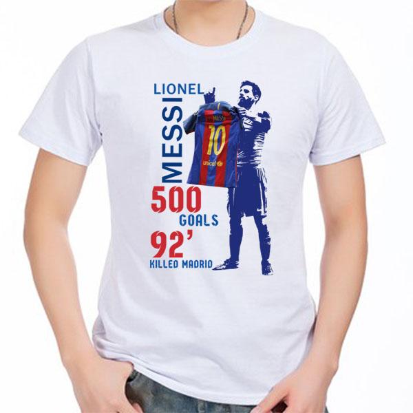 a012a01c080 2018 Lionel Messi 500 GOALS Barcelona TO Madrid Men's Short sleeve t-shirt  Argentina 100