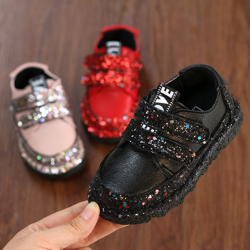 Sequins Baby Infant Toddler Shoes Spring And Autumn Children's Leather Shoes Soft Bottom Girls Princess Shoes girl shoes spring and autumn flash cute princess children shoes soft insole flat bottom show shoes butterfly knot convenience