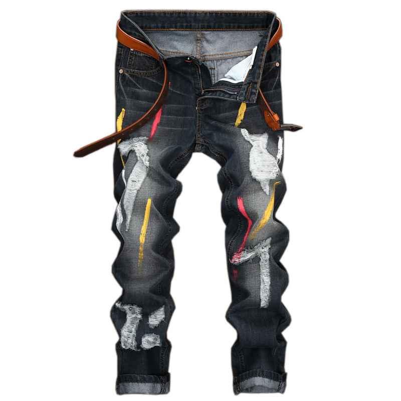 #1542 Destroyed jeans men Skinny Vintage Hip hop Straight Rockstar designer brand Jeans rotos hombre Mens stretch denim jeans