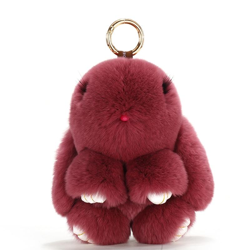 2017 New Women Keychains Handbag Keyrings Rabbit Furs Key Chain Pompom Charms Car Pendant Toy Doll