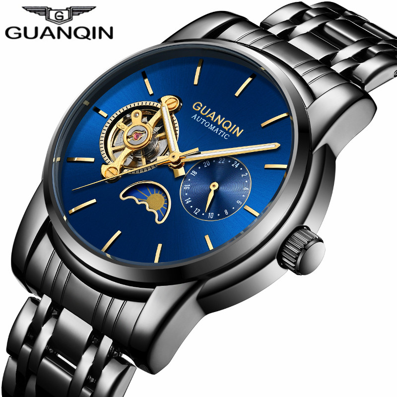 Luxury Brand GUANQIN Mechanical Watches Mens Luminous Moon Phase Waterproof Automatic Watch Stainless Steel Strap Wristwatches