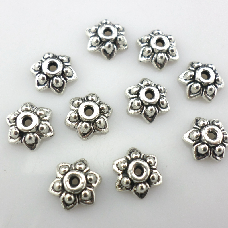 65F 150 ANTIQUE SILVER 6mm FLOWER BEAD CAPS~Fit 6-10mm Bead~Bracelets~Necklace