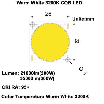 MARSWALLED CRI RA 95 + alta densidad de potencia 200W COB LED blanco cálido 3200K DC47-52V 4.1A 21000LM para foco de luz de inundación DIY
