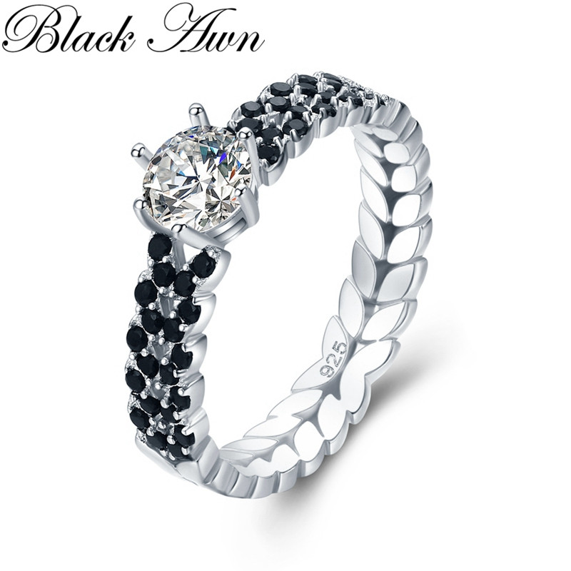 Office 2.1g 925 Sterling Silver Jewelry Black Spinel Personalized Leaf Engagement Rings for Women Bijoux Bague C480