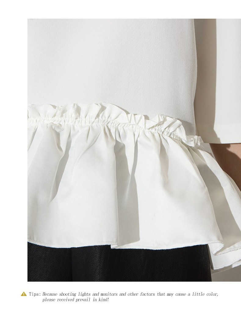 HDY Haoduoyi Solid O Neck Half Sleeve Ruffle Blouse Casual Brief Elegant Draped High Low Shirt  Sweet Preppy Style Loose Tops