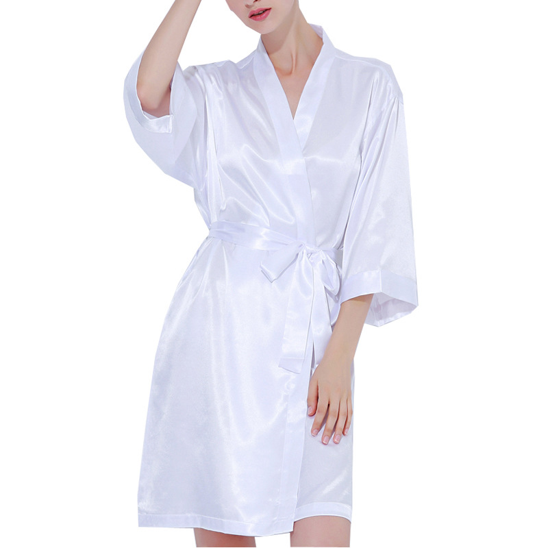 Peignoir Femme Sexy Silk Satin Long Wedding Bride Bridesmaid Robe Kimono Robe Feminino Bath Robe Large Size XL Peignoir Femme