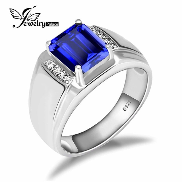 JewelryPalace Luxury 4.4ct Created Sapphire Ring 925 Solid Sterling Silver Men Fashion Engagement Wedding Jewelry Hot Sale