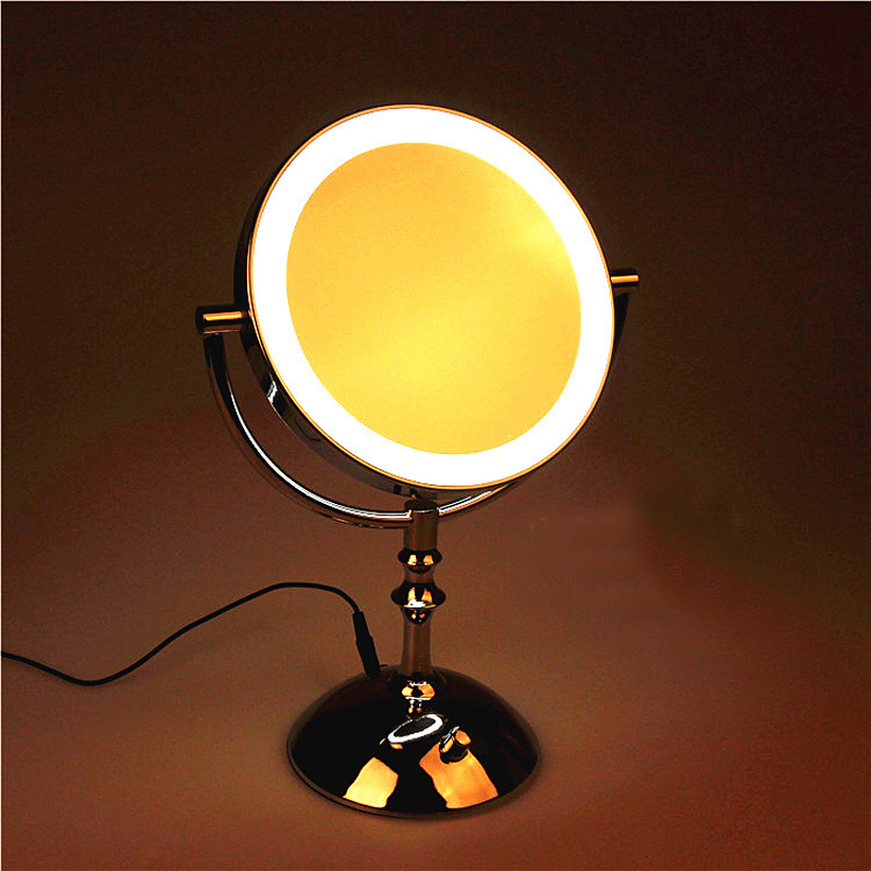 8 Inch Desktop Makeup Mirror 2-Face Metal Mirror 3X 5X 10X Magnifying Cosmetic Mirror LED Lamp Adjust The Brightness 8 inches folding desktop makeup mirror 3x 5x 7x 10x magnifying double side mirror metal portable travel cosmetic mirror