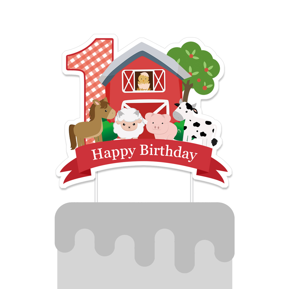 Farm Cake Topper Animal Centerpiece Barnyard Birthday Party Decorations Supplies