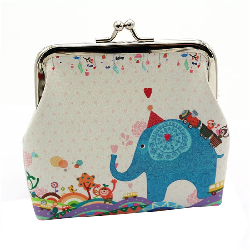Women Lady Retro Vintage Coin Purse Owl /Elephant Animal Printed PU Leather Small Wallet Hasp Purses Clutch Ladies Bag Hot Sale
