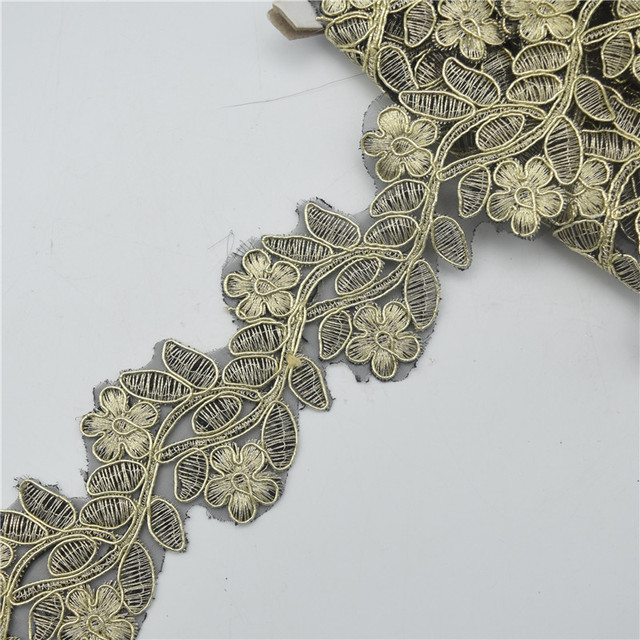 4.5yards gold and silver Flower Lace Vintage Trim Braid Ribbon Applique  Metalic Gold Fabric Sewing 043cafbad