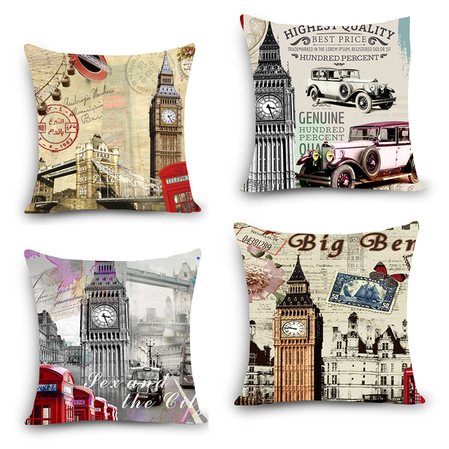 UK tellphone cell box BUS Iconic scenery printing cushion cover