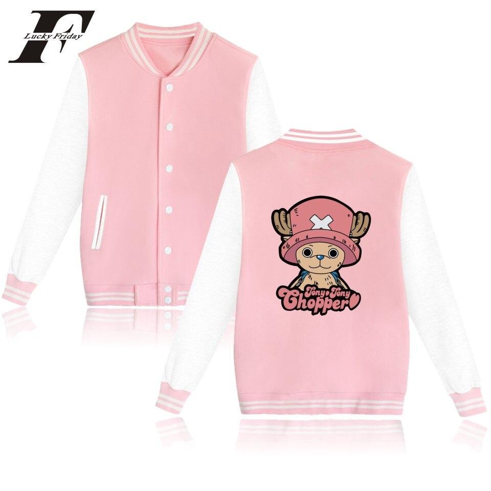 2017 bomber jacket coat ONE PIECE Cartoon Baseball jacket Women men Buttons Hoodies ONEPIECE Hip Hop Sweatshirt mens clothing