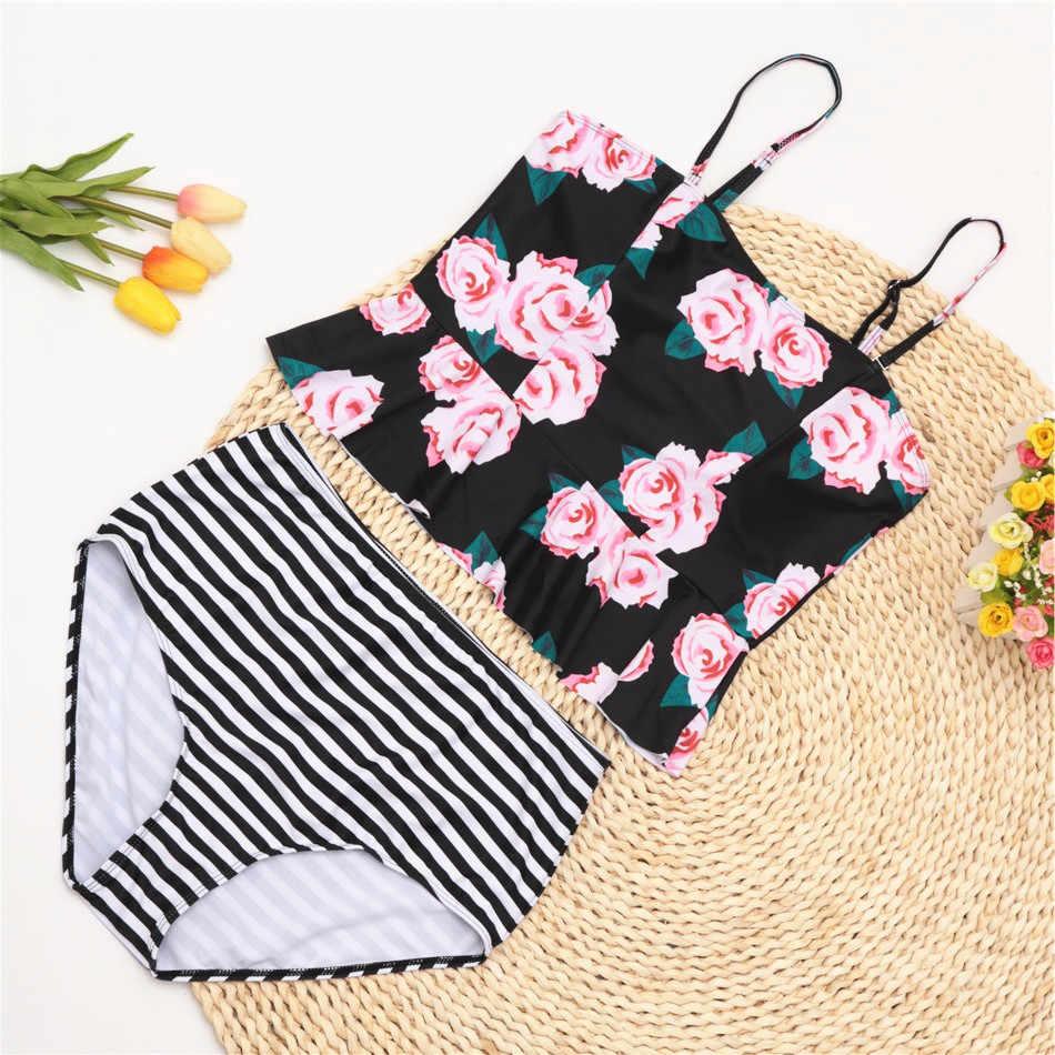 Taille haute maillot de bain rétro Bikini maillots de bain femmes Tankini maillots de bain imprimé fleuri maillot de bain maillots de bain maillot de bain pour femmes XL