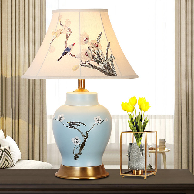 Chinese Style Copper Living Room Ceramic Table Lamp Blue Bedroom Reading Bedside Decoration Desk Lamps Light Za913457