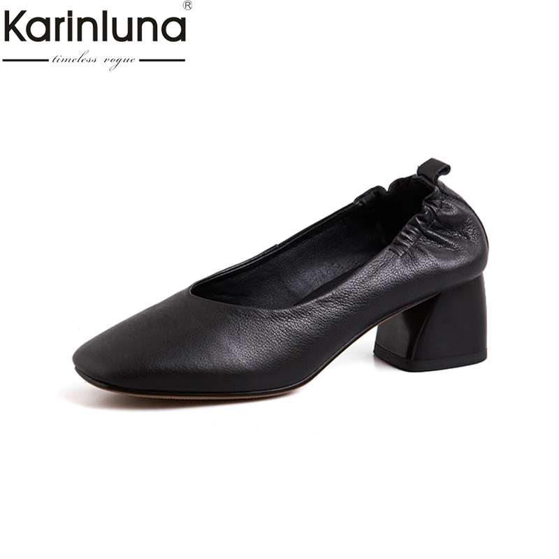 KarinLuna Big Size 43 Genuine Leather Chic Style 2019 Brand New women s Shoes Mature Office